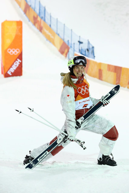 Justine Dufour-Lapointe of Canada celebrates winning silver during the Freestyle Skiing Ladies' Moguls Final on day two of the PyeongChang 2018 Winter Olympic Games at Phoenix Snow Park on February 11, 2018 in Pyeongchang-gun, South Korea. (Photo by Cameron Spencer/Getty Images)