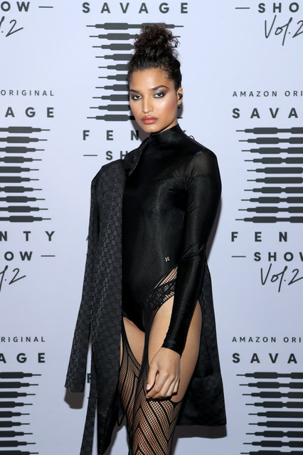 In this image released on October 1, Indya Moore attends Rihanna's Savage X Fenty Show Vol. 2 presented by Amazon Prime Video at the Los Angeles Convention Center in Los Angeles, California; and broadcast on October 2, 2020. (Photo by Jerritt Clark/Getty Images for Savage X Fenty Show Vol. 2 Presented by Amazon Prime Video)