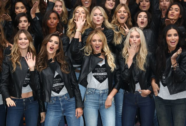 Alessandra Ambrosio, Candice Swanepoel, Elsa Hosk and Adriana Lima attend a photocall for the Victoria's Secret Angels ahead of the annual fashion show at Victoria's Secret New Bond Street on December 1, 2014 in London, England. (Photo by Tim P. Whitby/Getty Images)