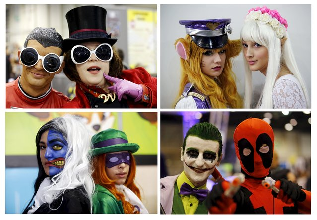 A combination of four pictures shows participants dressed in superhero and heroic fantasy costumes posing during the second edition of the Hero Festival in Marseille, France, November 7, 2015. The festival is dedicated to American superhero comics, Japanese mangas, heroic fantasy characters and video games universes. (Photo by Jean-Paul Pelissier/Reuters)