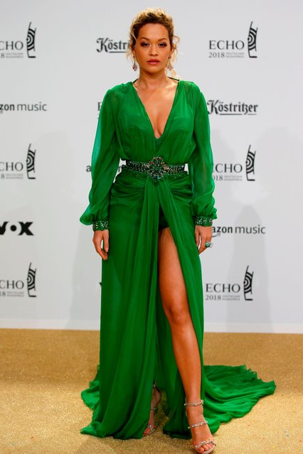 British singer Rita Ora poses during a photocall upon arrival for the 2018 Echo Music Awards ceremony Thursday, April 12, 2018 in Berlin. (Photo by Andre Mischke/Action Press)