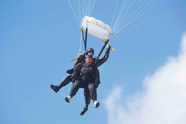 Sr. Patricia Hall 75 who skydived in Galway, UK in aid of AWARE, on May 17, 2013. (Photo by Andrew Downes)