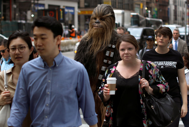 A person dressed as Chewbacca walks up a sidewalk with commuters on 6th Avenue in Manhattan in New York City, New York, U.S., May 4, 2018. (Photo by Mike Segar/Reuters)