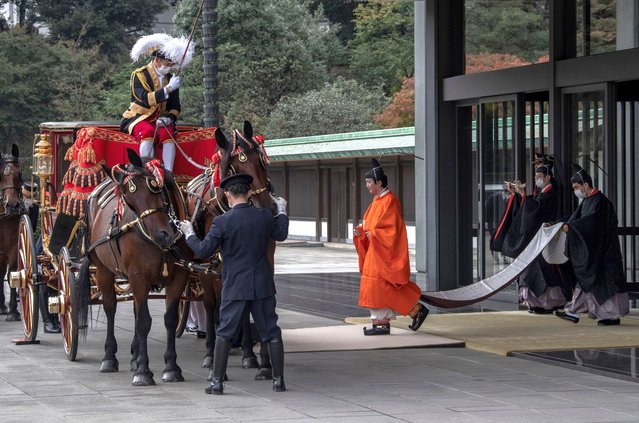 Crown Prince Fumihito leaves the Imperial Palace after being formally declared first in line to the Chrysanthemum Throne during a ceremony in which Emperor Naruhito proclaimed his younger brother crown prince to the people of Japan on November 8, 2020 in Tokyo, Japan. (Photo by Carl Court/Getty Images)
