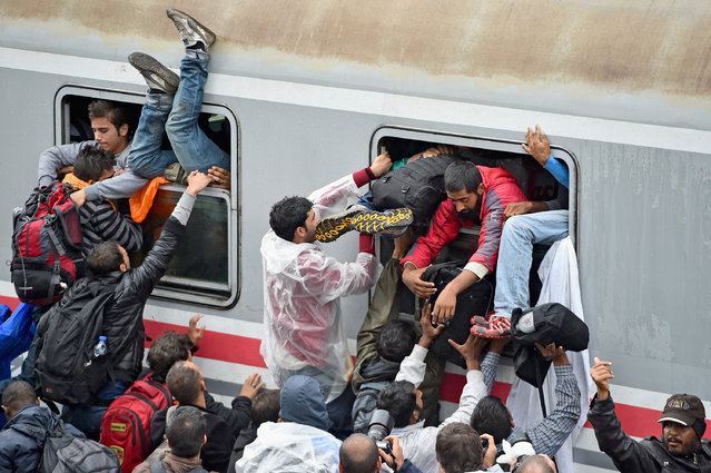 Migrants desperately try and board a train heading for Zagreb from Tovarnik station on September 20, 2015 in Tovarnik, Croatia. Croatia continues to send buses and trains north to its border with Hungary, as officials have estimated the around 20,000 migrants have entered since Wednesday. (Photo by Jeff J. Mitchell/Getty Images)