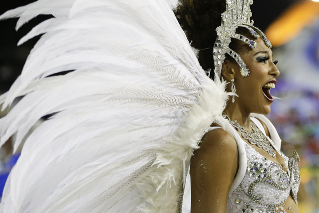 Brazilian actress Sheron Menezzes from the Portela samba school sings out in the Carnival parade at the Sambadrome in Rio de Janeiro, Brazil, Monday,February 16, 2015. (Photo by Felipe Dana/AP Photo)
