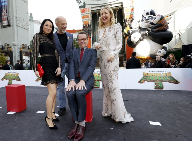 "Cast members Lucy Liu, J.K. Simmons, Bryan Cranston and Kate Hudson (L-R) pose at the premiere of ""Kung Fu Panda 3"" at the TCL Chinese theatre in Hollywood, California January 16, 2016. The movie opens in the U.S. on January 29. (Photo by Mario Anzuoni/Reuters)"