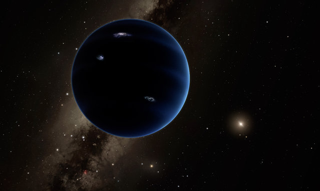 """This artistic rendering provided by California Institute of Technology shows the distant view from Planet Nine back towards the sun. The planet is thought to be gaseous, similar to Uranus and Neptune. Hypothetical lightning lights up the night side. Scientists reported Wednesday, Jan. 20, 2016, they finally have """"good evidence"""" for Planet X, a true ninth planet on the fringes of our solar system. (Photo by R. Hurt/Infrared Processing and Analysis Center/Courtesy of California Institute of Technology via AP Photo)"""