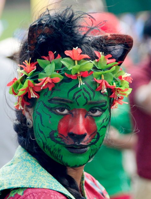 A Bangladesh cricket team supporter, with her face painted like a tiger and in the colours of the national flag, is seen before their Cricket World Cup quarter-final match against India in Melbourne March 19, 2015. (Photo by Hamish Blair/Reuters)