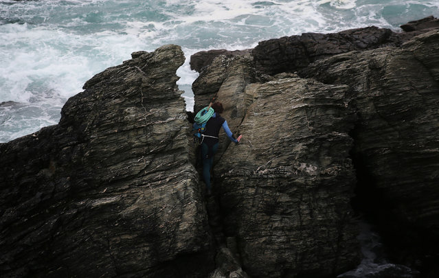 """Fisherman Santi Diaz Mosquera, 41, a """"percebeiro"""" (barnacle fisherman), carries a rope to help him hang from the rocks to collect gooseneck barnacles on the coast of Ferrol, in the northwestern Spanish region of Galicia, December 19, 2016. (Photo by Nacho Doce/Reuters)"""