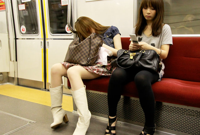 """Subway Exhaustion"". Tokyo, 2010. (Photo and caption by Guillaume Seigneuret)"