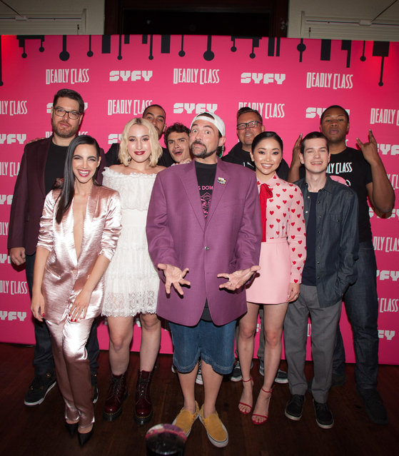 """(L-R) Miles Orion Feldsott, María Gabriela de Faría, Michel Duval, Harley Quinn Smith, Benjamin Wadsworth, Kevin Smith, Rick Remender,, Lana Condor, Liam James and Luke Tennie attend the premiere week screening of SYFY's """"Deadly Class"""", hosted by Kevin Smith, at The Wilshire Ebell Theatre on January 14, 2019 in Los Angeles, California. (Photo by Angela Papuga/Getty Images)"""