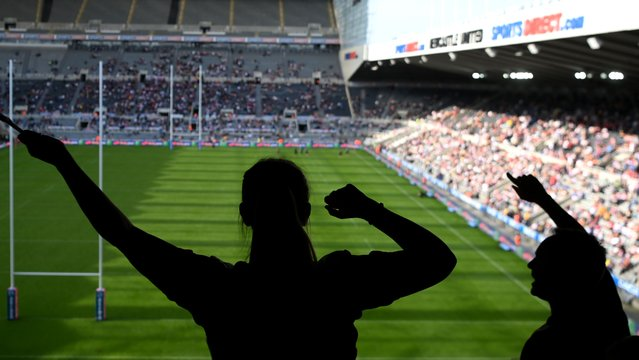Rugby League fans enjoying the atmosphere during the Betfred Super League match between Huddersfield Giants and Wakefield Trinity at St James' Park on September 05, 2021 in Newcastle upon Tyne, England. (Photo by Stu Forster/Getty Images)