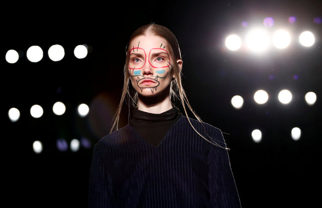 A model presents a creation by Alexandra Moura during the Milan Fashion Week in Milan, Italy, February 25, 2019. (Photo by Alessandro Garofalo/Reuters)