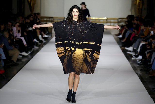 A model presents a creation by French designer Agnes b. as part of her Fall/Winter 2019-2020 women's ready-to-wear collection during Paris Fashion Week, in Paris, France, March 4, 2019. (Photo by Regis Duvignau/Reuters)