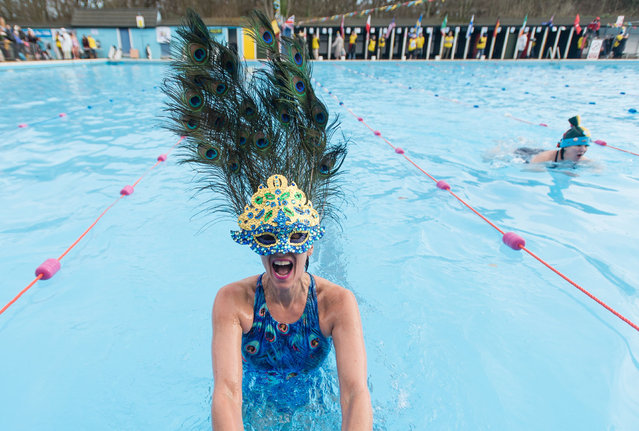Swimmers compete in a Best Hat competition at The 7th UK Cold Water Swimming Championships at Tooting Bec Lido in London, UK on January 28, 2017. (Photo by Richard Isaac/Rex Features/Shutterstock)
