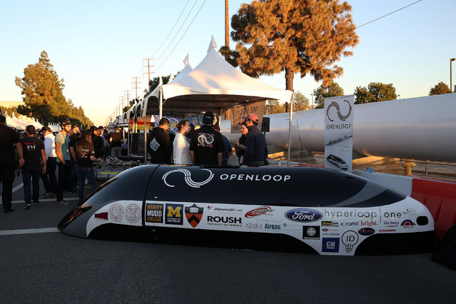 The pod cover for team Openloop, a six school alliance including Northeastern, Memorial University, Princeton, Cornell, Harvey Mudd College and the University of Michigan at the SpaceX Hyperloop Pod Competition in Hawthorne, Los Angeles, California, U.S., January 29, 2017. (Photo by Monica Almeida/Reuters)