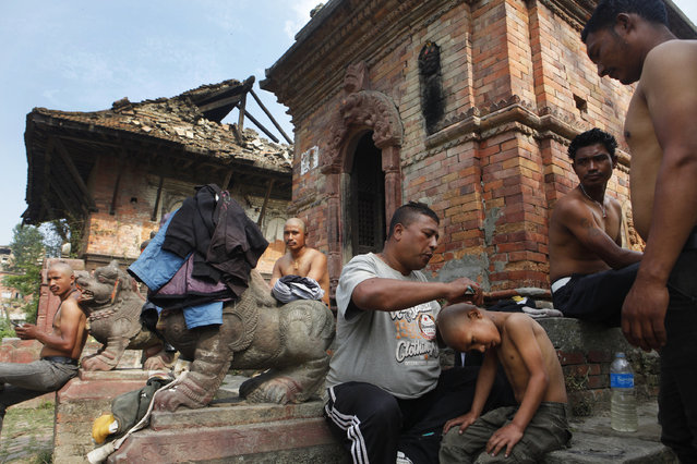 A young Nepalese, who lost a family members to the April 25 earthquake, receives a ritualistic tonsure as he prepares to end the mourning period, on the banks of Hanumante River in Bhaktapur, Nepal, Wednesday, May 6, 2015. (Photo by Niranjan Shrestha/AP Photo)