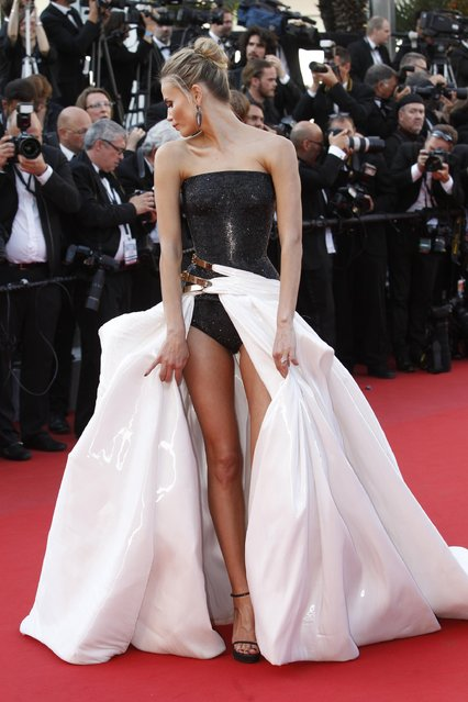 "Natasha Poly poses for photographers upon arrival for the screening of the film ""Carol"" at the 68th international film festival, Cannes, southern France, Sunday, May 17, 2015. (Photo by Lionel Cironneau/AP Photo)"