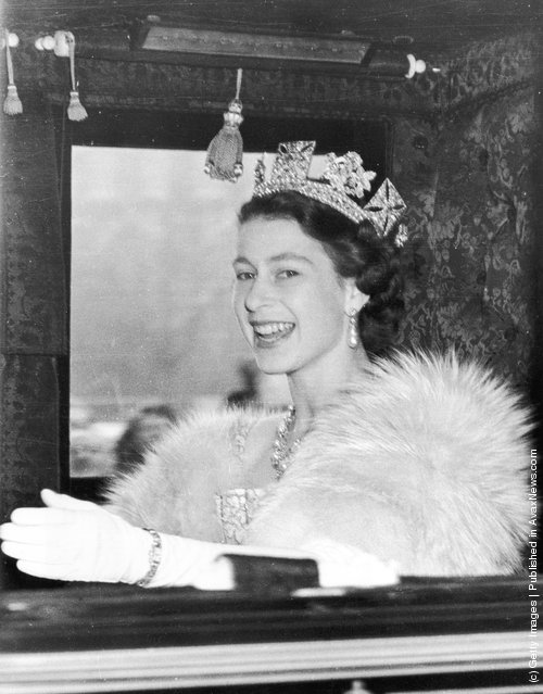 1952: Queen Elizabeth II on the way to Westminster to preside at the first State Opening of Parliament ceremony since her accession to the throne