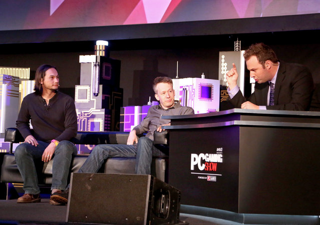 James Phinney, Creative Director, Motiga, left, and David Eckelberry, Game Director, Lionhead Studios, take the stage at the Xbox-sponsored PC Gaming Show at E3 2015 in Los Angeles on Tuesday, June 16, 2015. (Photo by Casey Rodgers/Invision for Microsoft/AP Images)