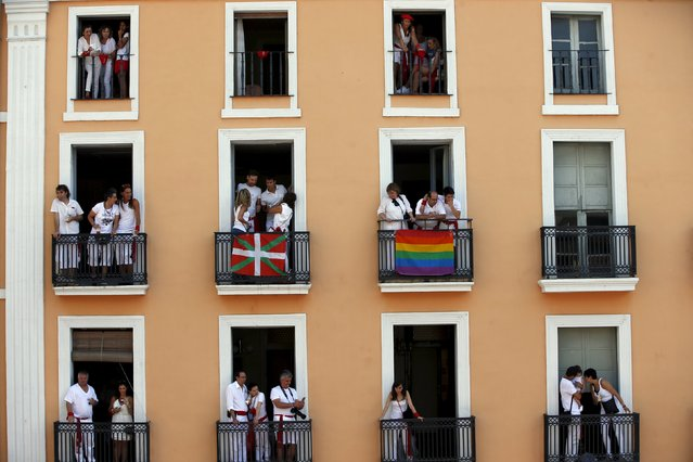 Revellers wait for the start of the San Fermin Festival in Pamplona, Spain, July 6, 2015. (Photo by Susana Vera/Reuters)