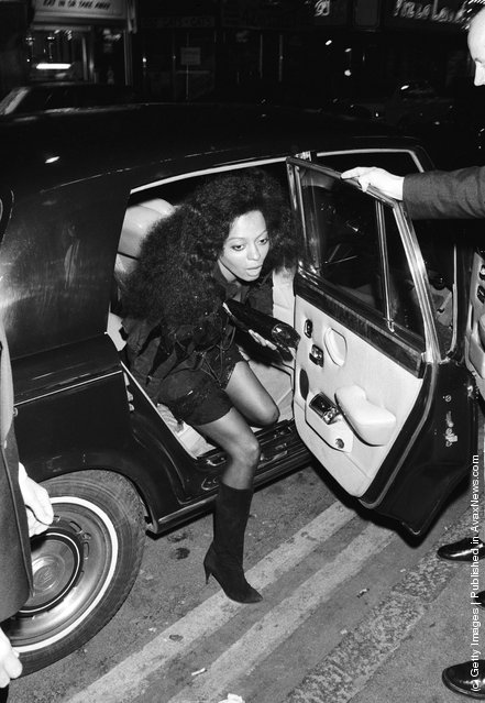 American singer Diana Ross emerges from a Rolls Royce, May 1986