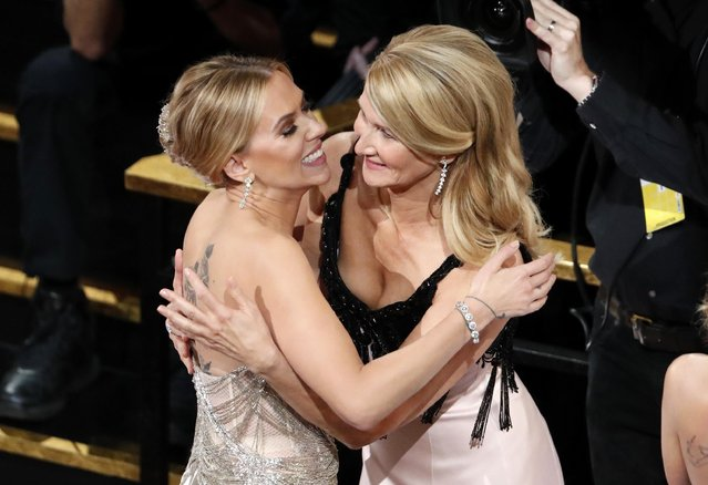 "Laura Dern hugs Scarlett Johansson (L) as Dern wins the Oscar for Best Supporting Actress in ""Marriage Story"" at the 92nd Academy Awards in Hollywood, Los Angeles, California, U.S., February 9, 2020. (Photo by Mario Anzuoni/Reuters)"