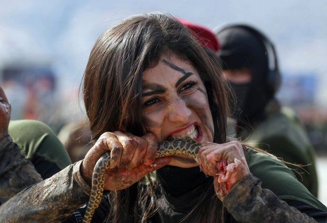 An Iraqi Kurdish Peshmerga female officer bites a snake while demonstrating skills during a graduation ceremony in the Kurdish town of Soran, about 100 kilometres northeast of the capital of Iraq's autonomous Kurdish region Arbil, on February 12, 2020. (Photo by Safin Hamed/AFP Photo)