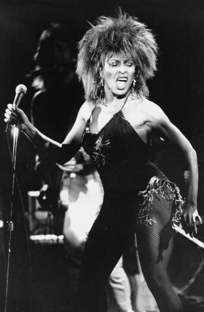 """Singer Tina Turner performs her current hit song """"What's Love Got to Do With It"""" during the Los Angeles, Calif., stop of her nation-wide tour, September 2, 1984. (Photo by Phil Ramey/AP Photo)"""