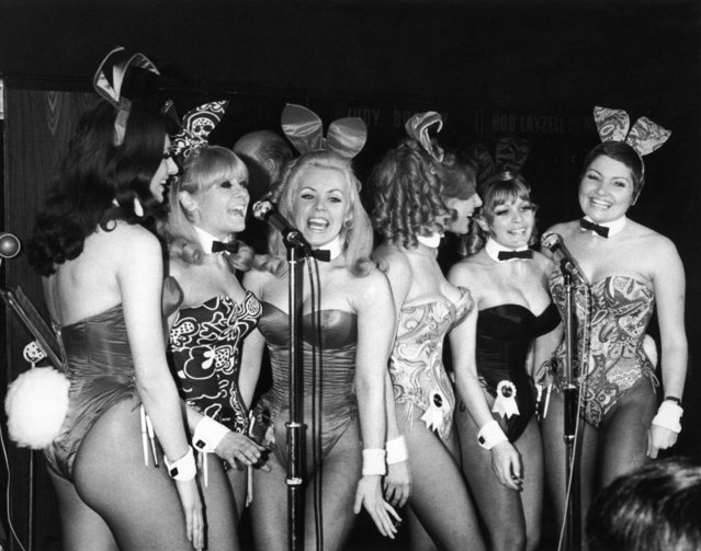 """The """"Singing Bunnies"""" – Bunny Girl waitresses at the London  Playboy Club – perform a song during the club's 'Showtime In The Playroom' spot, circa 1972. The group have recorded an album and are, left to right: Elaine Tulley, Heather Colne, Rosemary Lamb, Julie Ann Smith, Jo Anne Wigley and Karen Parkinson. (Photo by Keystone/Hulton Archive/Getty Images)"""