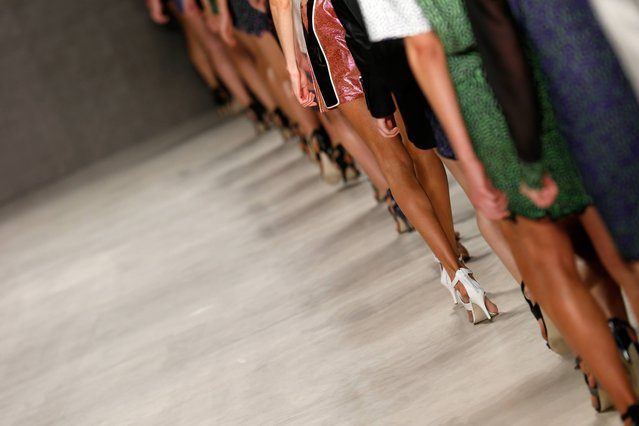 Models walk the runway at the Ece Gozen show during Mercedes Benz Fashion Week Istanbul SS15 at Antrepo 3 on October 13, 2014 in Istanbul, Turkey. (Photo by Andreas Rentz/Getty Images for IMG)