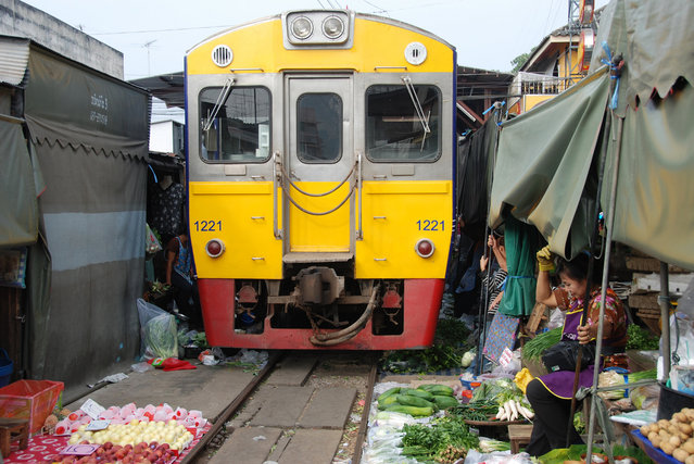 Maeklong Railway Market. (Photo by Trent Strohm)
