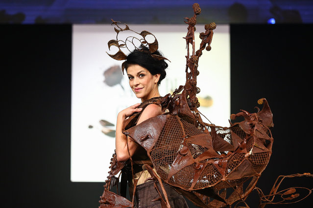 Jovanka Sopalovic walks the runway and wears a chocolate dress made by stylist Stephane Martello and chocolate maker Jean-Claude Jeanson during the Fashion Chocolate show at Salon du Chocolat at Parc des Expositions Porte de Versailles on October 28, 2014 in Paris, France. (Photo by Richard Bord/Getty Images)