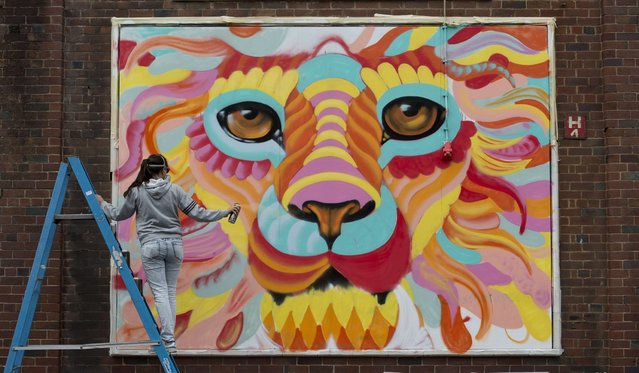 "A Swedish street artist known as ""Amara Por Dios"" takes part in the ""Sand Sea & Spray"" Urban Art Festival in Blackpool, north west England on July 11, 2015. The festival, which concludes tomorrow, features live street art being produced on walls and billboards in various locations throughout central Blackpool. (Photo by Oli Scarff/AFP Photo)"