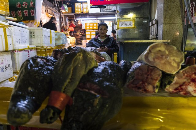 Crocodile meat parts stands on display, while salesman seats in the background on Huangsha Seafood Market in Guangzhou, Guandong Province, China, 20 January 2018. (Photo by Aleksandar Plavevski/EPA/EFE)