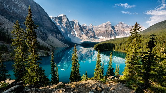 The calm lakes of the Rocky Mountains in Alberta, Canada, are famed for their strikingly clear blue waters. (Photo by Ron Caimano/500px)