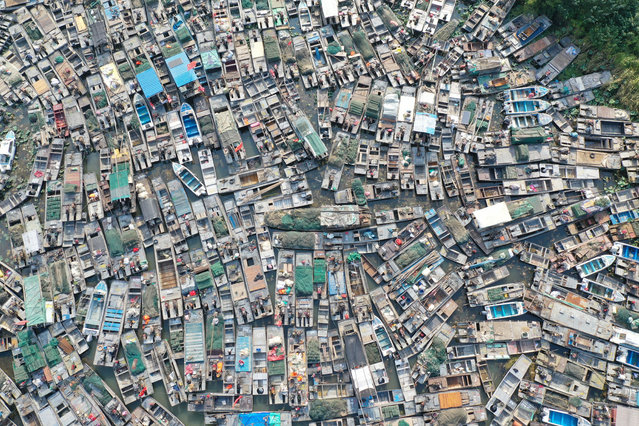 Aerial view of the fishing boats waiting to be dismantled in Huai'an city, east China's Jiangsu province, 13 October 2020. (Photo by Rex Features/Shutterstock)