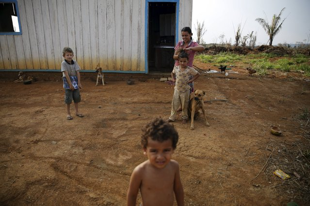 A family is pictured outside their house in Rio Pardo next to Bom Futuro National Forest, in the district of Porto Velho, Rondonia State, Brazil, September 1, 2015. (Photo by Nacho Doce/Reuters)