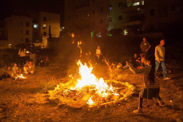 Lag Ba'Omer celebrations in Modi'in Illit, Israel, on April 27, 2013. (Photo by Gil Cohen)