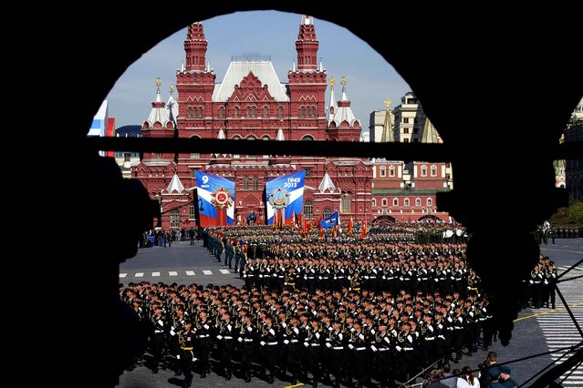 Russian soldiers march along Red Square during the Victory Day parade on May 9. (Photo by Ivan Sekretarev/Associated Press)