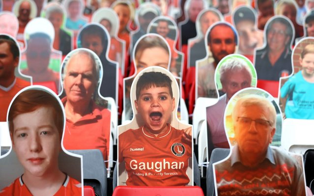 Cardboard cut-outs of Charlton fans in the stands prior to the Sky Bet Championship match between Charlton Athletic and Queens Park Rangers at The Valley on June 27, 2020 in London, England. (Photo by Alex Pantling/Getty Images)