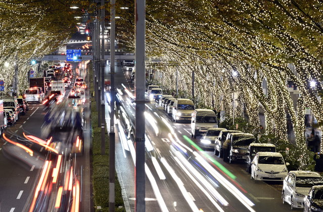 A slow shutter photograph shows vehicles passing under illuminated trees at Omotesando in Tokyo, Japan, December 1, 2015. Starting December 1, some 500,000 LED lights covering the trees will illuminate the avenue until Christmas time. (Photo by Franck Robichon/EPA)