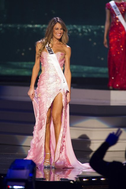 Valentina Bonariva, Miss Italy 2014 competes on stage in her evening gown during the Miss Universe Preliminary Show in Miami, Florida in this January 21, 2015 handout photo. (Photo by Reuters/Miss Universe Organization)