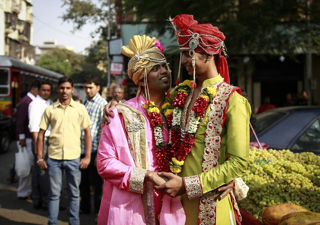 Gay activists dressed as newly wed grooms attend a gay pride parade, which is promoting gay, lesbian, bisexual and transgender rights, in Mumbai, January 31, 2015. (Photo by Danish Siddiqui/Reuters)