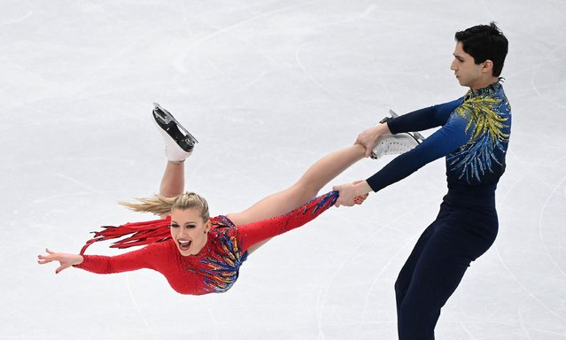 Canada's Marjorie Lajoie and Zachary Lagha perform during the free ice dance skating event at the ISU World Figure Skating Championships in Stockholm on March 27, 2021. (Photo by Jonathan Nackstrand/AFP Photo)