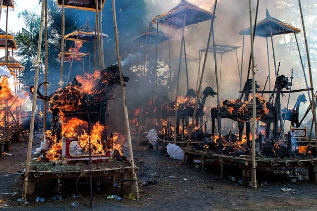 Sarcophagi burn at a cremation site during a Balinese Hindu mass cremation in Ubud, Bali, Indonesia, on August 18, 2013. More than 60 corpses were collectively cremated to share the expense of the ceremony. Well known as Ngaben, cremation is one of the most important ceremonies for Balinese Hindus, as they believe it will free the spirit from the deceased body so it can reincarnate. (Photo by Putu Sayoga/Getty Images)