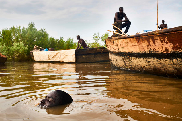 A Malian digger dives in the waters of the Niger River to collect sand near Kangaba, in Mali' s southwestern Koulikoro region, on October 2, 2018. (Photo by Michele Cattani/AFP Photo)