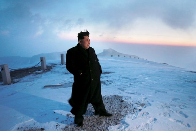 North Korean leader Kim Jong Un views the dawn from the summit of Mt Paektu April 18, 2015, in this photo released by North Korea's Korean Central News Agency (KCNA) on April 19, 2015. (Photo by Reuters/KCNA)