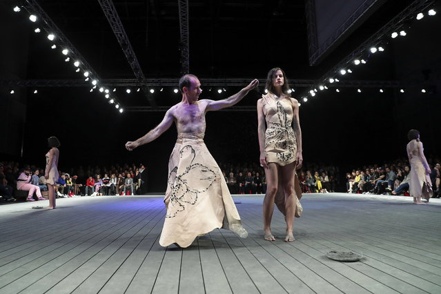 Models present creations by Portuguese fashion designer Olga Noronha on the last day of the Lisbon Fashion Week, at Carlos Lopes Pavillion in Lisbon, Portugal, 10 March 2019. (Photo by Miguel A. Lopes/EPA/EFE)